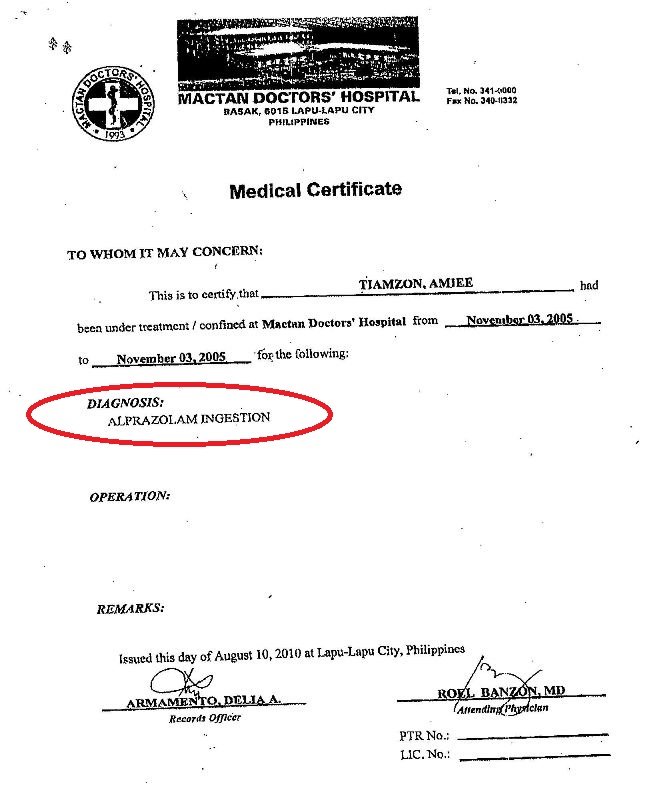 Mental illness amies medical certificates alprazolam ingestion medical certificate for amie justo tiamzon yadclub Images